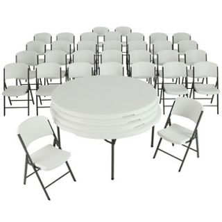 Lifetime Combo Four 60 Round Commercial Grade Folding Tables and 32 Folding Chairs, White Granite