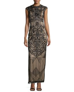 Sue Wong Cap Sleeve Embroidered & Sequined Column Gown