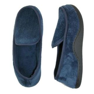 totes ISOTONER Size Xlarge Mens Microterry Memory Foam Indoor/Outdoor Slip On Slippers, Navy