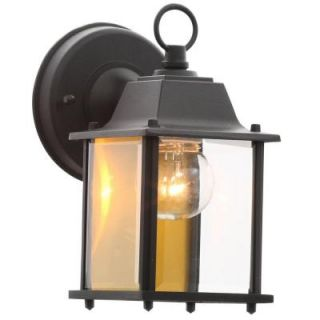 Hampton Bay 1 Light Black Outdoor Wall Lantern BPM1691 BLK