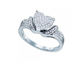 10k White Gold 0.20Ctw Diamond Ladies Micro Pave Heart Ring
