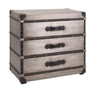 "32.25"" Black and Brown Wood 3 Drawer Trunk Chest Accent Table with Silver Metal Studs"