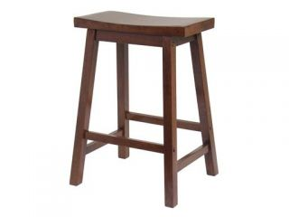 Winsome 94084 24 Inch Saddle Seat Stool   Walnut