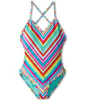 Roxy Kids Surfs Up Stripe One Piece Big Kids Turquoise