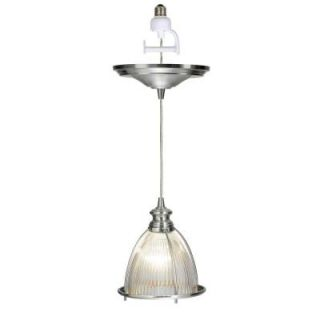 Worth Home Products 1 Light Brushed Nickel Instant Pendant Conversion Kit and Overlay with Halophane Glass Shade PBN 0406 0030 R