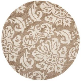 Safavieh Florida Shag Beige/Cream 6 ft. 7 in. x 6 ft. 7 in. Round Area Rug SG460 1311 7R