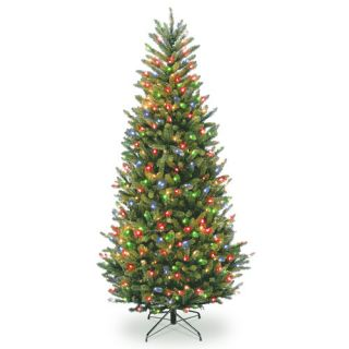 Natural Fraser 7.5 Green Fir Slim Artificial Christmas Tree with 750