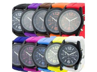 Unisex Women's Black Dial Silicone Band Geneva Analog Quartz Watch 10 Colors