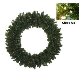 "36"" Pre Lit Battery Operated Canadian Pine Artificial Christmas Wreath   Warm Clear LED Lights"