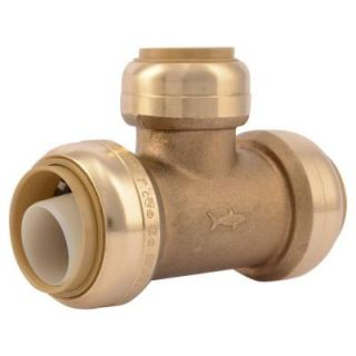 SharkBite 1 in. x 1 in. x 3/4 in. Brass Push to Connect Reducer Tee U416LFA