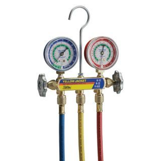 YELLOW JACKET Basic Manifold and Hose Set,R 12,22,502   Manifold Gauge Sets   2NXD7|41215