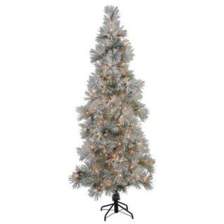 7' Slim Flocked Stone Pine Artificial Christmas Tree   Clear Dura Lights