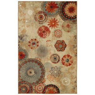 Mohawk Home Alexa Medallion Brown 8 ft. x 10 ft. Printed Outdoor Patio Area Rug 379865