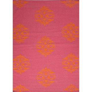 Handmade Flat Weave Moroccan Canterbury/ Pink Rug (36 x 56