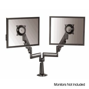 Chief KCY220B Height Adjustable Dual Arm Dual Monitor Desk Mount   Black