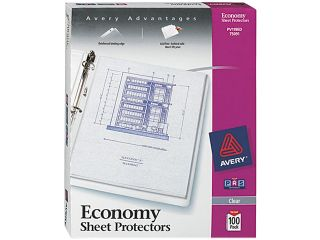 Avery 75091 Top Load Poly Three Hole Sheet Protectors, Economy Gauge, Letter, 100/Box