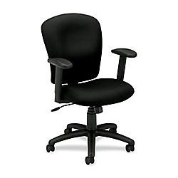 basyx by HON HVL220 Height Adjustable Arms Pneumatic Task Chair 41 H x 26 38 W x 34 12 D Black Frame Charcoal Fabric