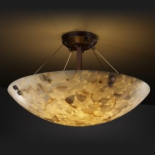Justice Design Group 3 light Round Alabaster Rocks Dark Bronze Semi