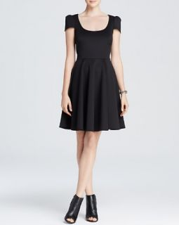 4.collective Dress   Cap Sleeve Scoop Neck Sateen Neoprene Fit and Flare
