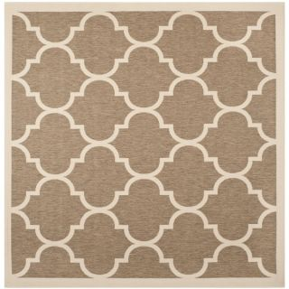 Safavieh Indoor/ Outdoor Courtyard Contemporary Brown/ Bone Rug (53