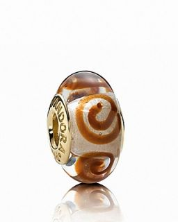 PANDORA Charm   Murano Glass & 14K Gold Brown Spirals, Moments Collection