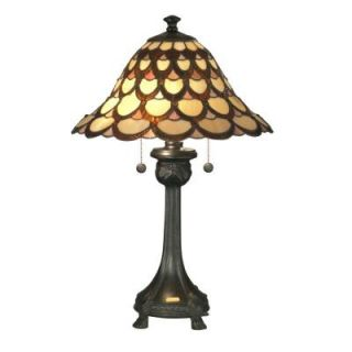 Dale Tiffany Peacock 24.5 in. Antique Bronze Fieldstone Table Lamp TT70110
