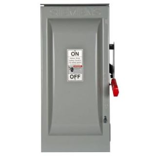 Siemens Heavy Duty 100 Amp 600 Volt 3 Pole Outdoor Non Fusible Safety Switch HNF363R