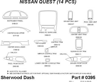 1996, 1997, 1998 Nissan Quest Wood Dash Kits   Sherwood Innovations 0395 CF   Sherwood Innovations Dash Kits