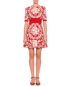 Dolce & Gabbana Embroidered Floral Dress, Red/White