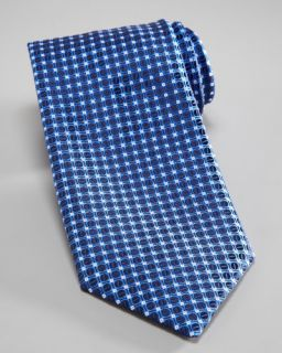Charvet Dot & Grid Silk Tie, Blue