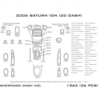 2006, 2007 Saturn Ion Wood Dash Kits   Sherwood Innovations 1962 N50   Sherwood Innovations Dash Kits