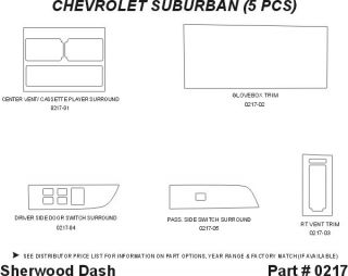 1992, 1993, 1994 Chevy Suburban Wood Dash Kits   Sherwood Innovations 0217 CF   Sherwood Innovations Dash Kits