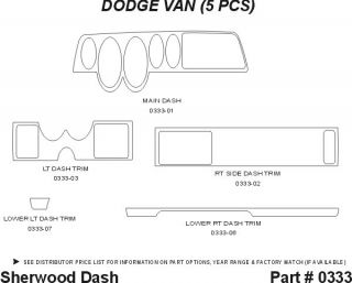 1995, 1996, 1997 Dodge Van Wood Dash Kits   Sherwood Innovations 0333 N50   Sherwood Innovations Dash Kits
