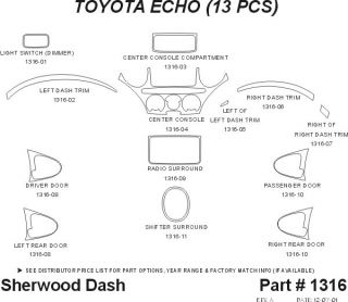 2001 2005 Toyota Echo Wood Dash Kits   Sherwood Innovations 1316 N50   Sherwood Innovations Dash Kits