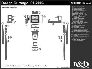 2001, 2002, 2003 Dodge Durango Wood Dash Kits   B&I WD731D DCF   B&I Dash Kits