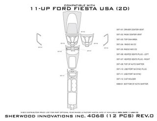 2011, 2012, 2013 Ford Fiesta Wood Dash Kits   Sherwood Innovations 4068 CF   Sherwood Innovations Dash Kits