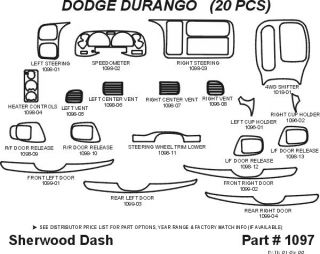 1999, 2000 Dodge Durango Wood Dash Kits   Sherwood Innovations 1097 N50   Sherwood Innovations Dash Kits