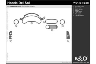 1996, 1997 Toyota RAV4 Wood Dash Kits   B&I WD171B DCF   B&I Dash Kits