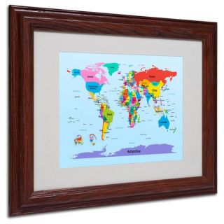 Michael Tompsett Childrens World Map Framed Matted Art