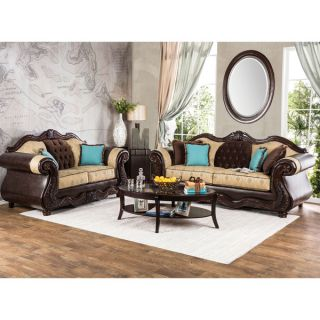 Furniture of America Danford Formal 2 piece Two Tone Scrolled Arm Sofa