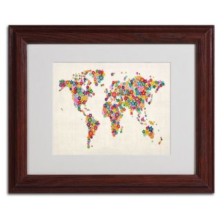 Michael Tompsett Flowers World Map Framed Matted Art