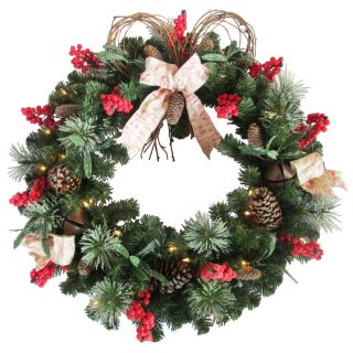 Holiday Living 30 in Pre Lit Spruce Artificial Christmas Wreath with White Lights
