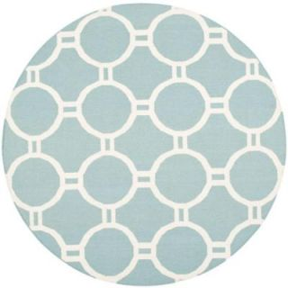Safavieh Dhurries Light Blue/Ivory 6 ft. Round Area Rug DHU636C 6R