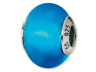 925 Silver Blue Matte Italian Murano Glass Jewelry Bead