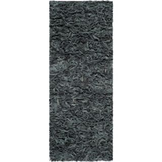 Safavieh Handmade Leather Shag Grey Leather Rug (23 x 6)