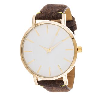 Xtreme Mens Gold Case and White Dial / Brown Leather Strap Watch