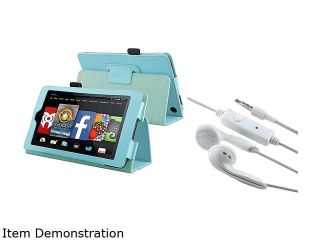 "Insten Baby Blue Folio Stand Leather Case Cover with White 3.5mm In ear Stereo (w/ On off & Mic) Headsets for  Kindle Fire HD 6"" 1991446"