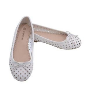 L'Amour Little Big Kids Girls White Perforated Bow Ballet Flats 11 4 Kids