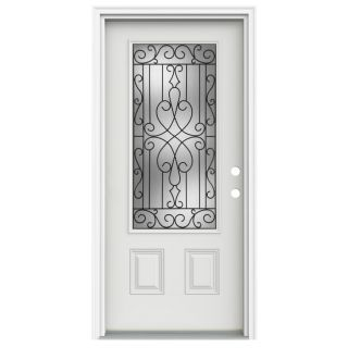 ReliaBilt Wyngate 1 Panel Insulating Core 3/4 Lite Left Hand Inswing Arctic White Fiberglass Painted Prehung Entry Door (Common 36 in x 80 in; Actual 37.5 in x 81.75 in)