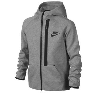 Nike YA76 Tech Fleece Full Zip Hoodie   Boys Grade School   Casual   Clothing   Dark Grey Heather/Black